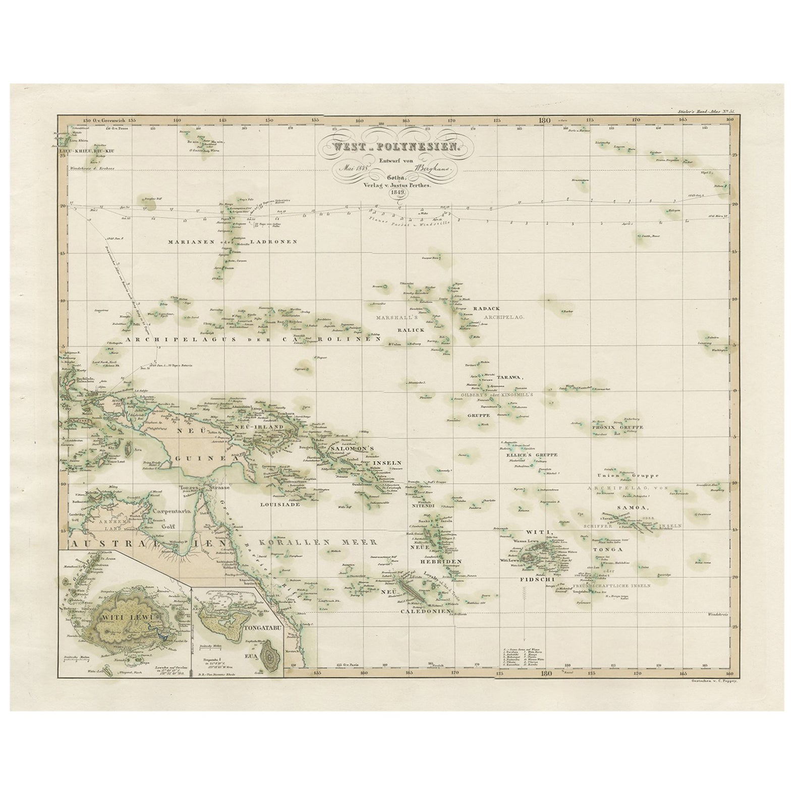 Antique Map of Western Polynesia by H. Berghaus, 1849