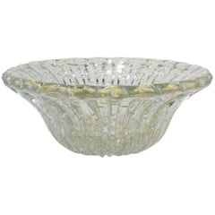 Large Midcentury Ribbed Barovier Bullicante Clear & Gold Murano Art Glass Bowl