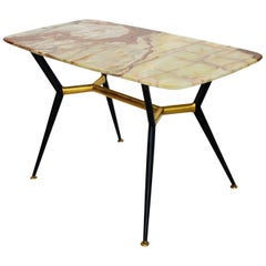 Italian Midcentury Coffee Table with Onyx, 1950s