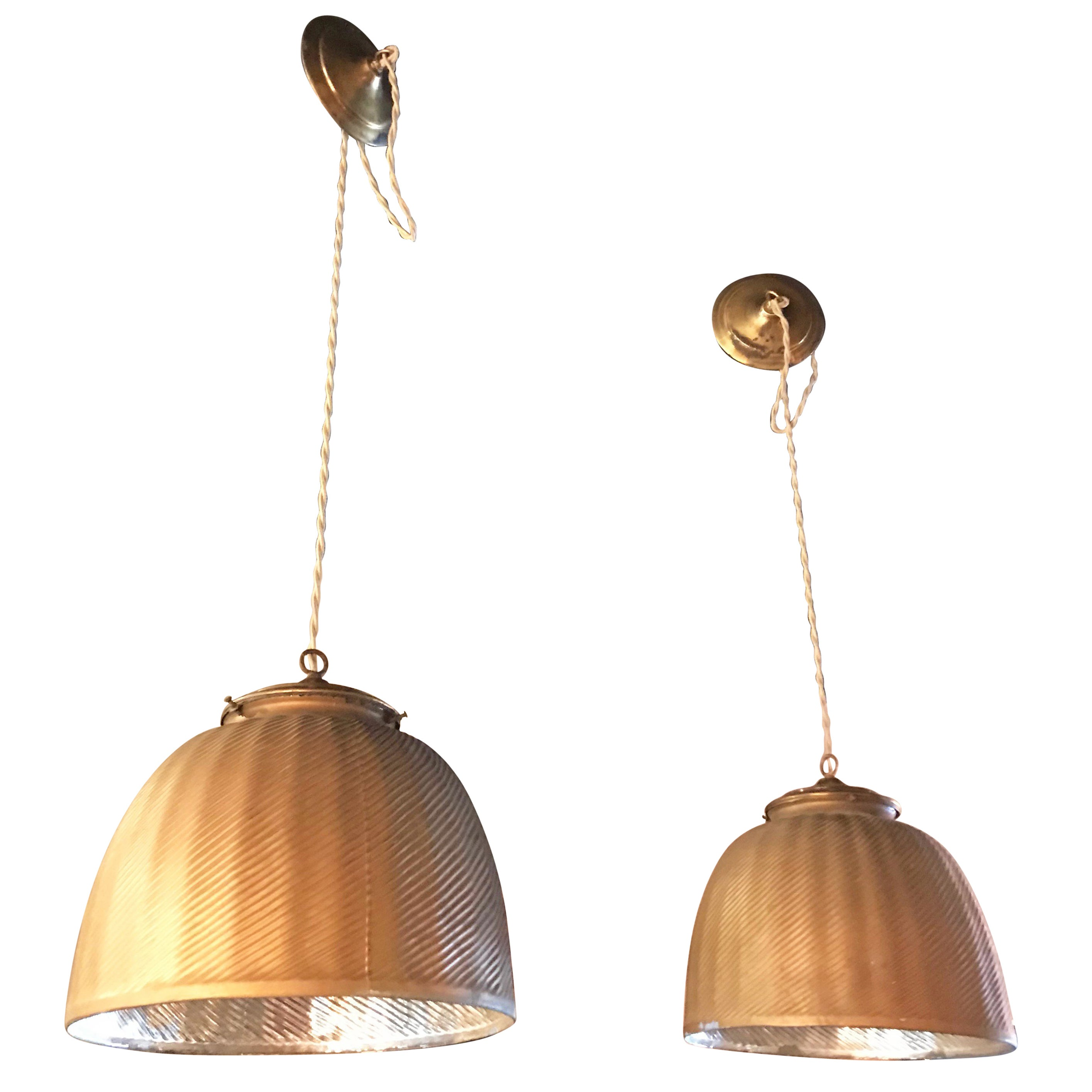Pair of Large Industrial Gold X-Ray Mercury Glass Pendant Lights