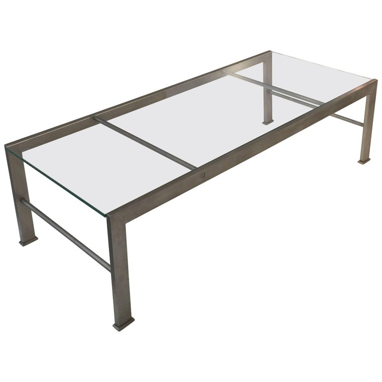 Metal and Glass Coffee Table after a Design by Marc du Plantier