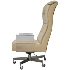 Vladimir Kagan Leather Desk Chair with Lucite Arms