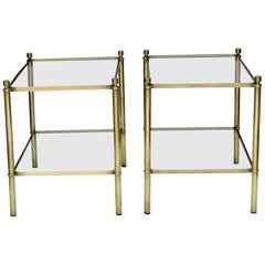 Pair of French 1960s Brass and Glass Side Tables