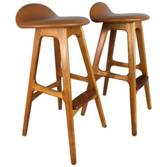 Teak Bar or Counter Stool Pair by O.D. Mobler of Denmark