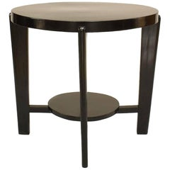 Italian 1940s Ebonized Round Coffee Table