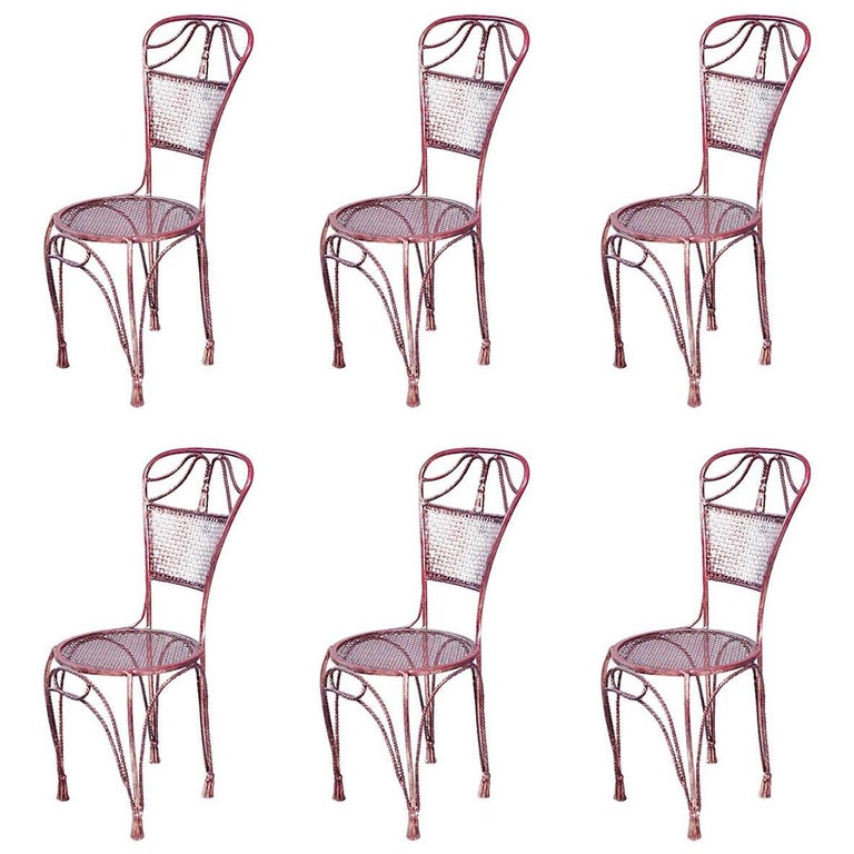 Set of Six Gilt Metal Rope and Tassel Design Side Chairs