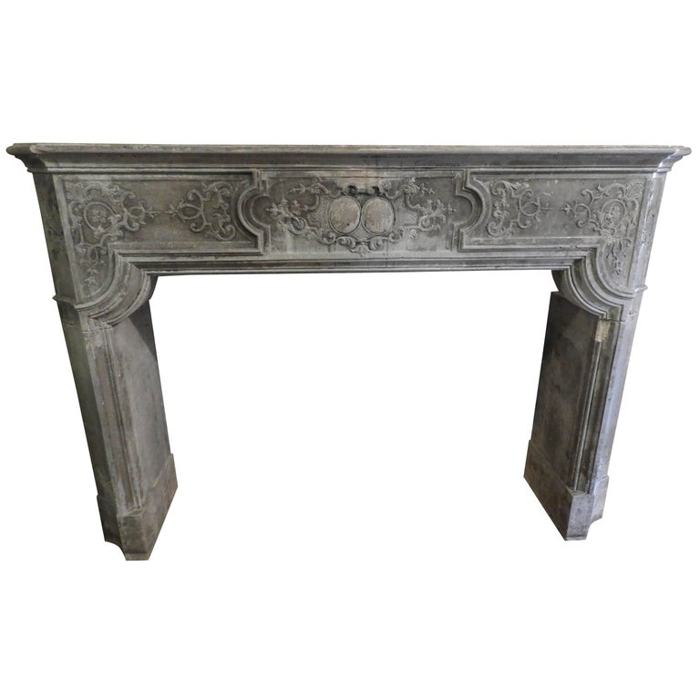 Louis XIV Fireplace in Light Grey Limestone at Least, 19th Century