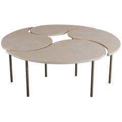 Capra Coffee Table in Parchment and Bronze by Aguirre Design