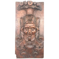 """1877 French Carved Wooden Study of Bacchus on Wooden Panel, Dated and Signed """"A"""""""