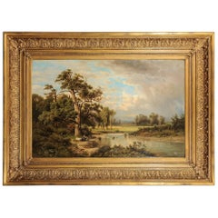 Antique German Painting with an Italian Landscape