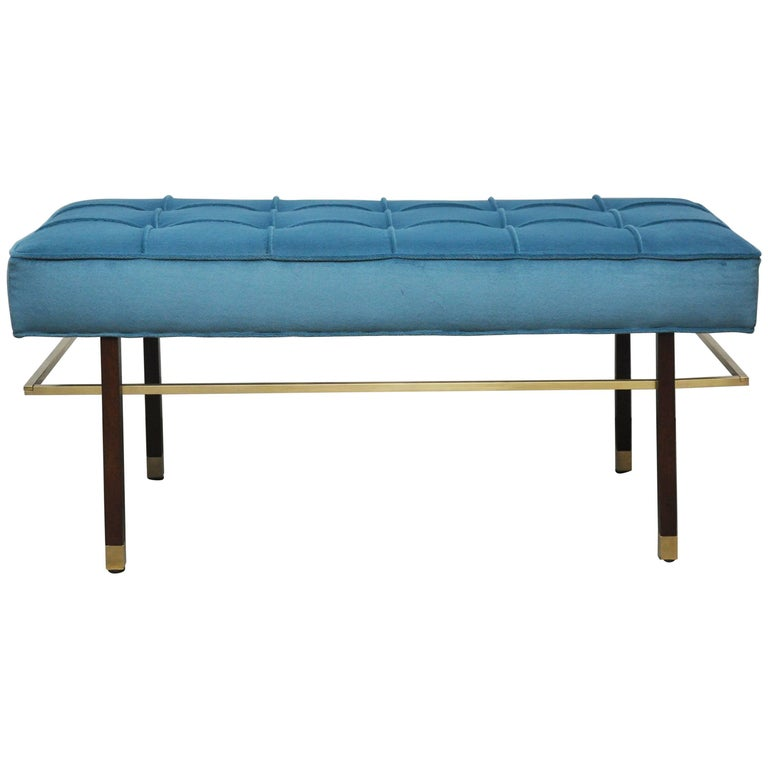 Harvey Probber Brass Frame Bench in Blue Velvet