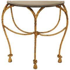 Hollywood Regency Rope and Tassel Design Gilt Metal Half Round Console Table