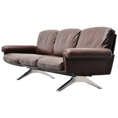 De Sede Ds31/3 Lounge Sofa in Brown Leather Switzerland, 1970
