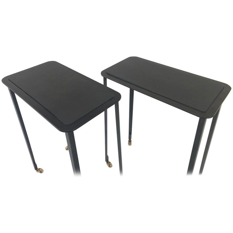 Pair Of Slate Top Steel Side Tables On Casters For