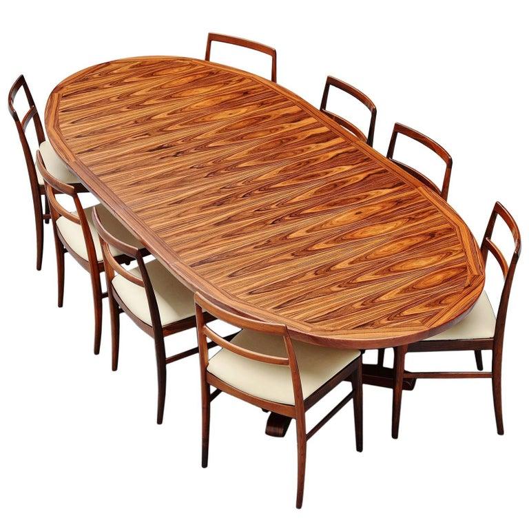 Danish Oval Rosewood Dining Table, Denmark, 1960