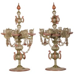 Pair of Antique Italian Rococo Venetian Glass Candelabra, Italy, late 19th c.