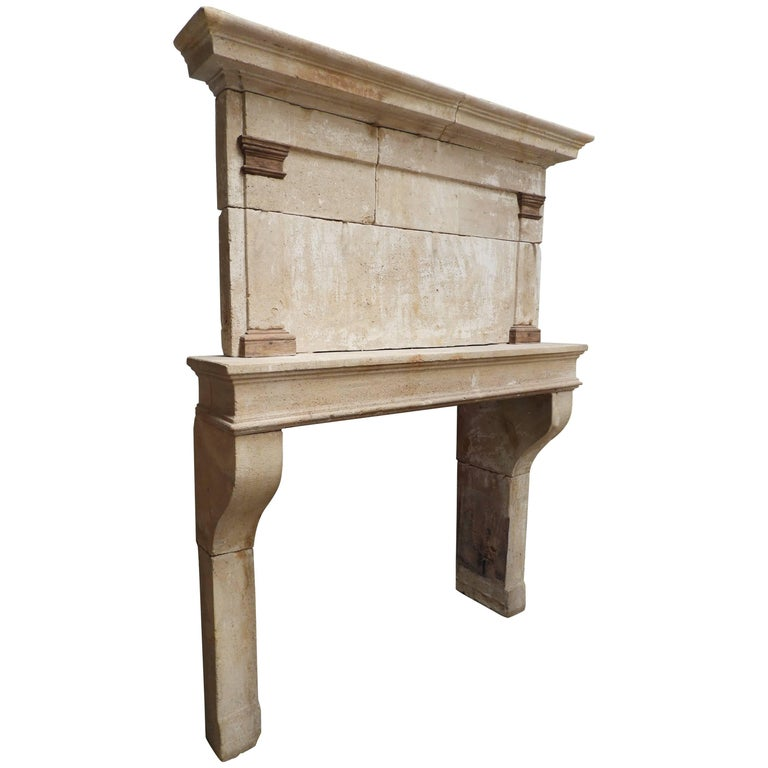 19th Century Louis Philippe Fireplace in French Limestone