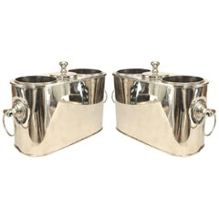 Pair of English Art Moderne Style Nickel-Plate Oval Wine Coolers