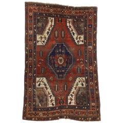 Distressed Antique Turkish Bergama Rug with Adirondack Style