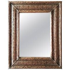 Copper Look Metal Inlaid Mirror, Rectangular