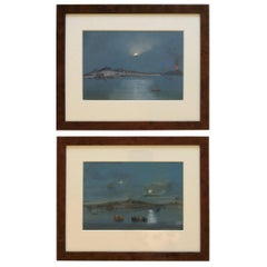 Late 19th Century, Pair of Italian Gouache paintings of Vesuvius