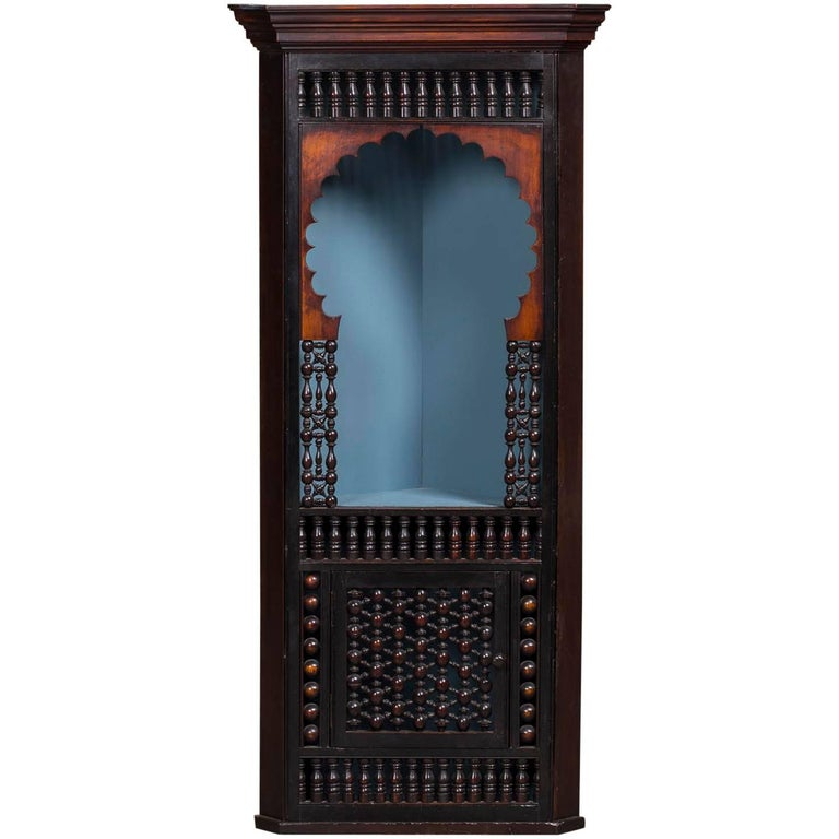 Antique English Indian Anglo Raj Hanging Corner Cabinet, circa 1880