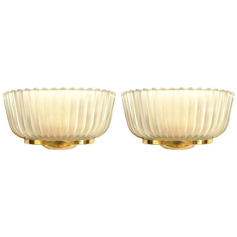 Pair of Italian 1940s Molded Frosted Glass Wall Sconces