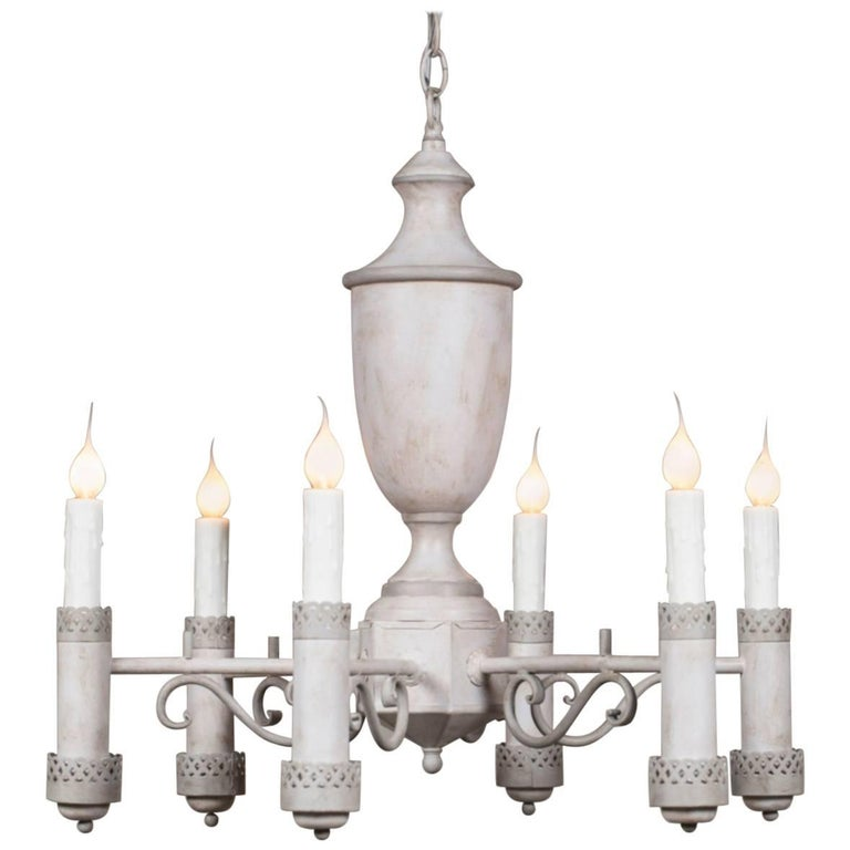 Vintage French Eight-Light Painted Tôle Chandelier, circa 1960
