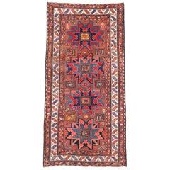 Antique Russian Tribal Kazak Rug with Lesghi Star, Caucasian Hallway Runner