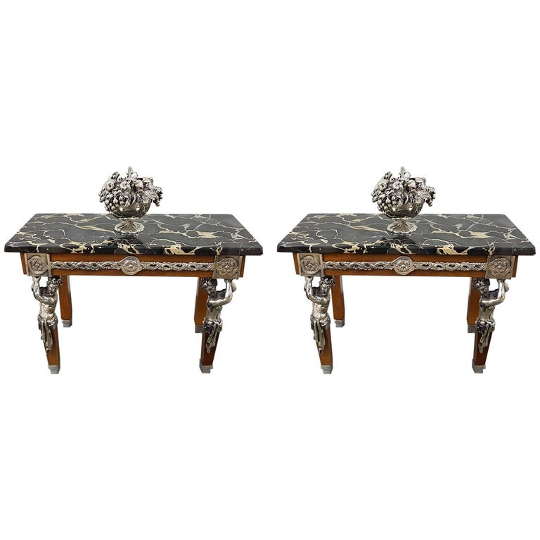 20th Century Italian Sterling Silver Miniature Tables For Sale