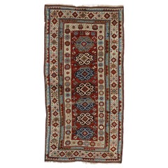 Rustic Tribal Style Antique Caucasian Kazak Rug, Wide Hallway Runner