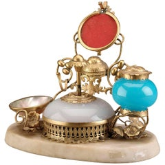 Opaline Glass Perfume with Inkwell and Bell Push