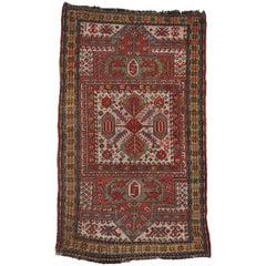 Antique Russian Tribal Kazak Prayer Rug with Compartment Design, Caucasian Rug