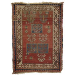 Antique Russian Tribal Bordjalou Kazak Rug with Compartment Design