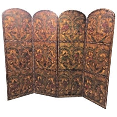 19th Century French Embossed Leather Screen
