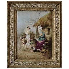 E.Merville Painting on Porcelain La Cigale et La Fourmi