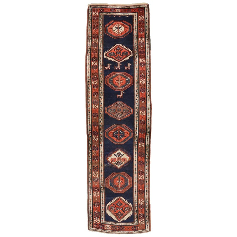 Antique Caucasian Tribal Kazak Rug, Hallway Runner