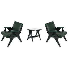 Jose Zanine Caldas Pair of Leather Armchairs and Side Table, Brazil, circa 1950