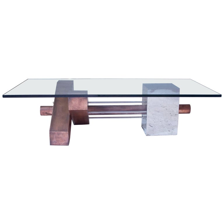 Sculptural Coffee Table in Copper and Chrome with Bevelled Glass Top, 1980s