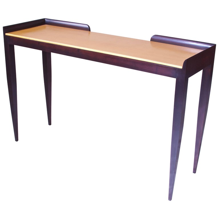 Gio Ponti Style Console Table in Italian Walnut and Gold Finish on Gesso Top