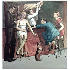 American Art Moderne 1940s Five Panel Mural Oil Painting