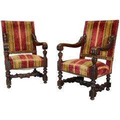 Fine Pair of 19th Century French Walnut Open Armchairs in the Baroque Style