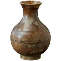Antique Italian Terra Cotta Vase with Bottle Shape and Brown Glaze
