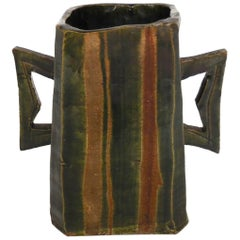 Japanese Pottery Vessel with Two Large Handles in Matte Earth Colors