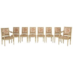 Louis XVI Style Set of Eight French Dining Chairs, circa 1950s Unrestored