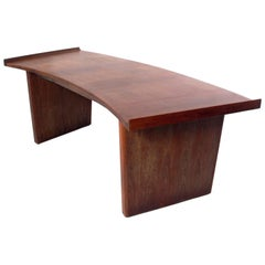 Sculptural Modern Walnut Desk by Harvey Probber