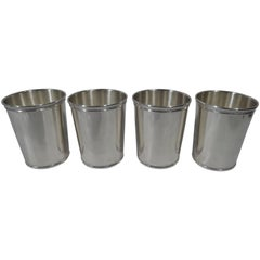 Set of Four Tiffany Sterling Silver Mint Julep Cups