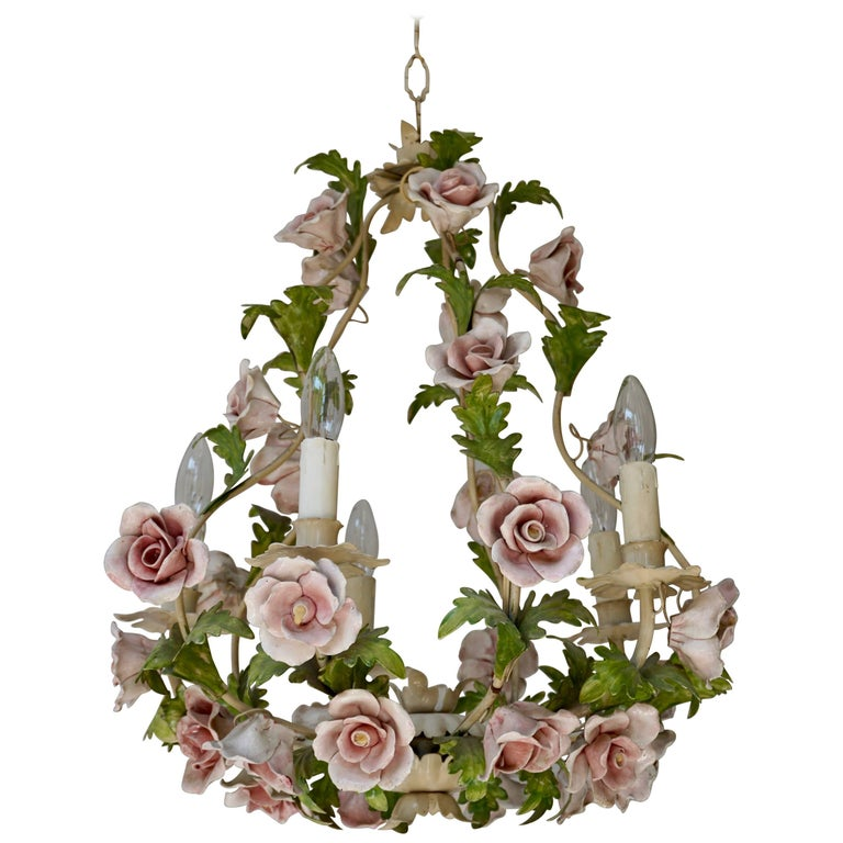 Italian Chandelier with Porcelain Flowers