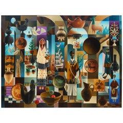 "Ramon Prats Modern Mexican Painting ""Composicion Mexicana"""