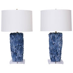 Pair of Blue Coral Table Lamps
